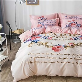 Flowers and Letters Printed Cotton Beige Kids Duvet Covers/Bedding Sets