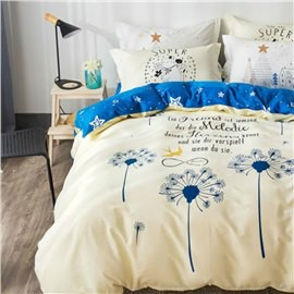 Blue Dandelions Printed Cotton Beige Kids Duvet Covers/Bedding Sets