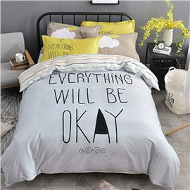 Nordic Style Letters Printed Cotton Gray Kids Duvet Covers/Bedding Sets