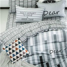 Stripes Printed Cotton Gray Kids Duvet Covers/Bedding Sets