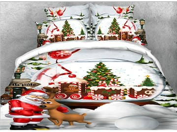 Happy Santa Claus And Christmas Reindeer 3D Printed 4-Piece Bedding Sets/Duvet Covers