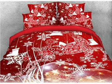 Christmas Snowflake Bedding 3D Printed Christmas Decorations 4-Piece Red Bedding