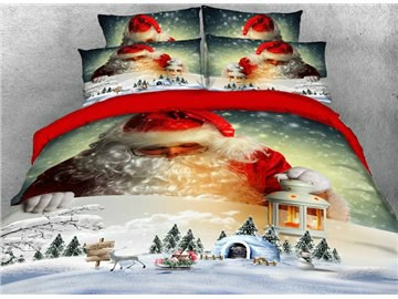 Santa Claus and Lgloo Printed Cotton 4-Piece 3D Bedding Sets/Duvet Covers