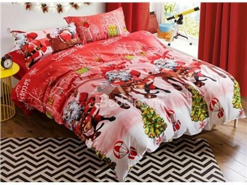 Likable Santa Claus & Reindeer Print 4-Piece Polyester Duvet Cover Sets