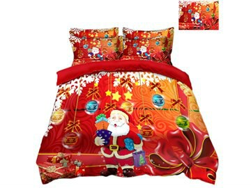 Santa Claus Holding Gifts Printed 3D 4-Piece Christmas Bedding Sets/Duvet Covers