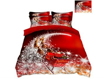 Reindeer Pull Santa's Sleigh and Snowflake Printed 3D 4-Piece Christmas Bedding