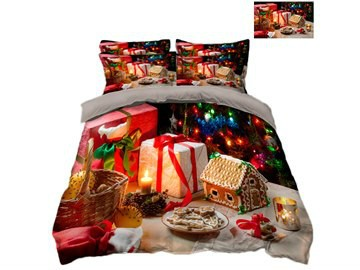Christmas Presents and Ornaments Printing Polyester 3D 4-Piece Bedding Sets/Duvet Covers
