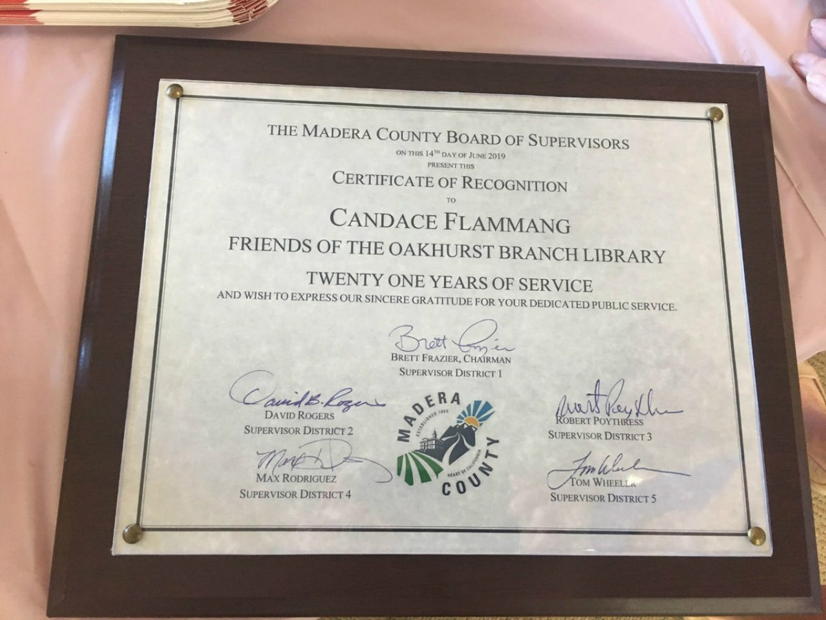 CERTIFICATE SIGNED BY ALL MADERA COUNTY SUPERVISORS