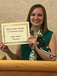 Jackie Andrascik receiving her Scholarship Award at the 2018 Scholarship Benefit Luncheon