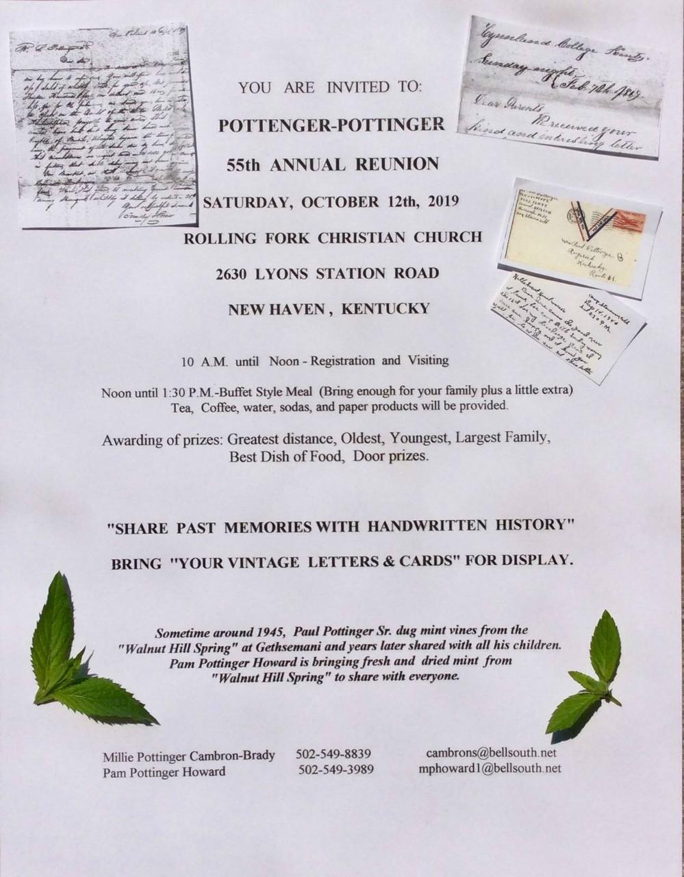 Pottenger-Pottinger 55th Reunion, October 12, 2019